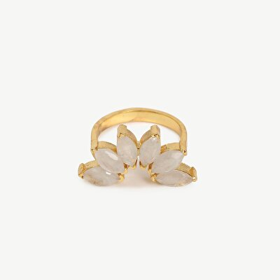 14k Gold Plated Ring İn Crescnt Shape With Rainbow Moon Stone