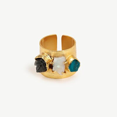 14k Gold Plated Amorf Form Ring  With Labrodorite, White Moon And Sitrine Stones