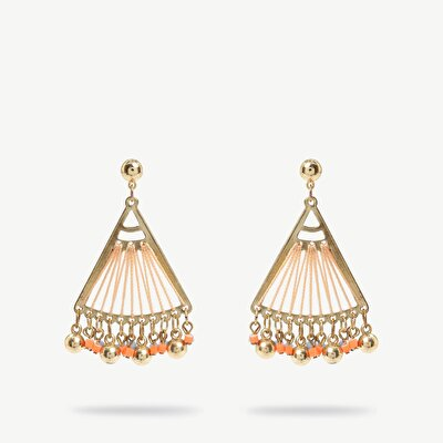 Earrings İn Triangle Shape With Small Beads