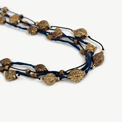 Multirow Necklace With Antique Gold  Beads