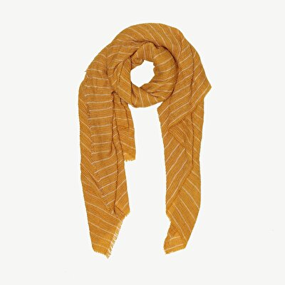 Vertical Stripe Print And Texture Scarf