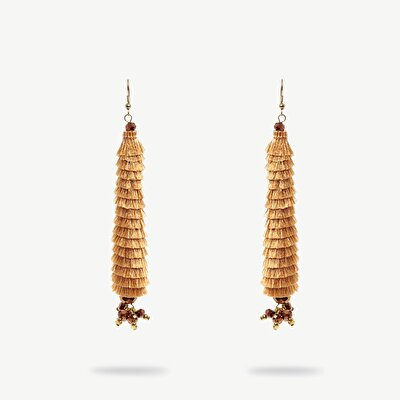 Tassel Earrings With Small Beads