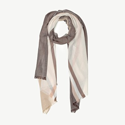 Striped Print Cotton Scarf