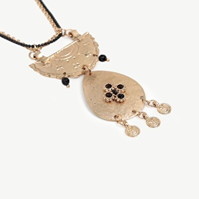 Necklace With Double Chain And Antique Look Pendant