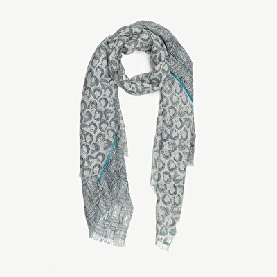Linen Scarf With Antique Faces Print