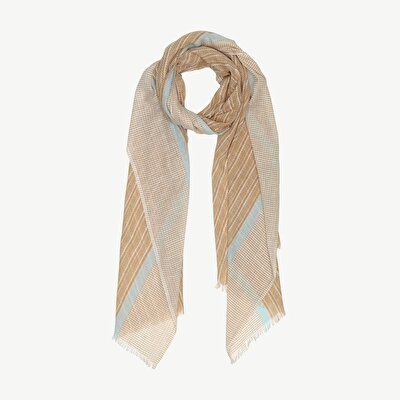 Stripe Print Cotton Scarf