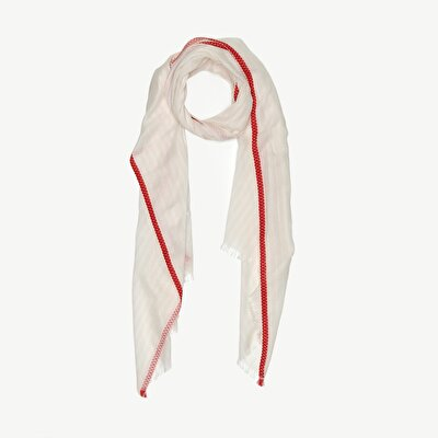 Cotton Scarf With Red Stripes