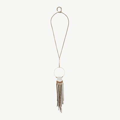 Necklace With Geometrical And Tassel Pendant