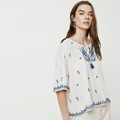 Tasseled Embroidery Detailed Shirt