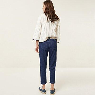 Nervür Detaylı Denim Pantolon