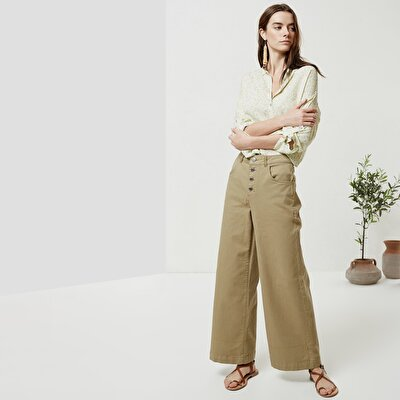 Button Detailed Denim Trousers