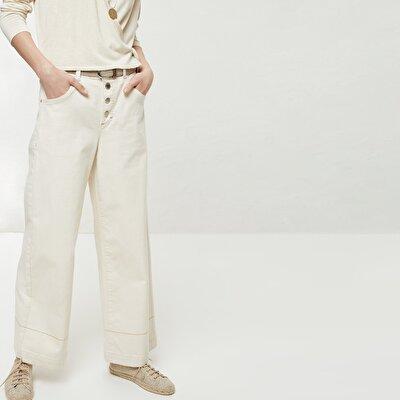 Düğme Detaylı Denim Pantolon