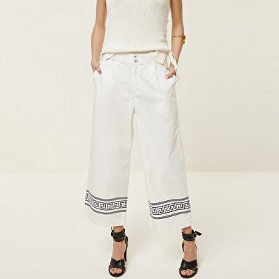 Hem Detailed Denim Trousers