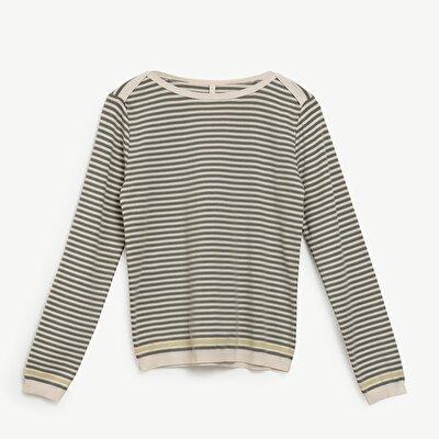 Boat Neck Striped Knitwear
