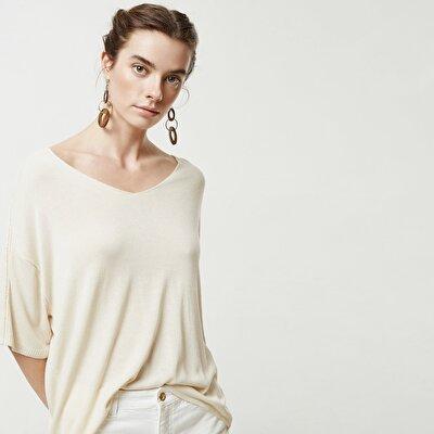 V Neck Shoulder Detailed Knitwear
