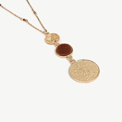 Necklace With Velvet And Coin Pendant