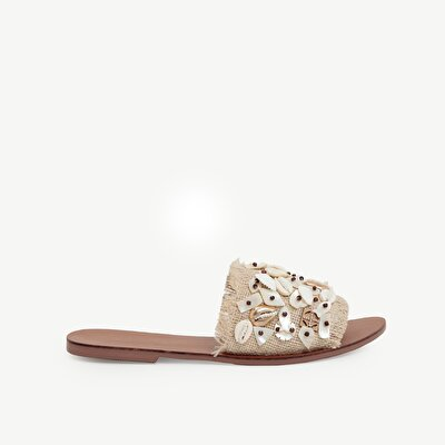 Shell Beaded Jute Fabric Slipper