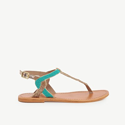 Beaded Toe Post Flat Leather Sandals