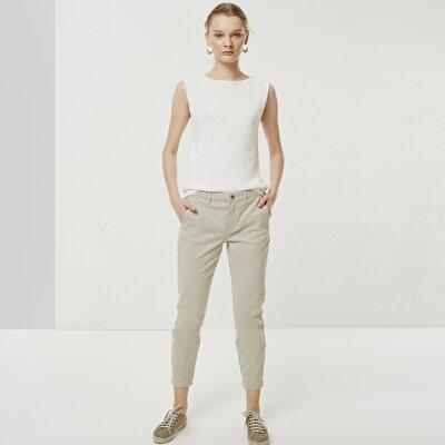 Yan Dikiş Detaylı Denim Pantolon