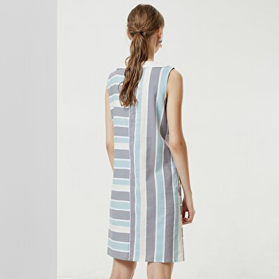 Shawl Collar Sleeveless Dress