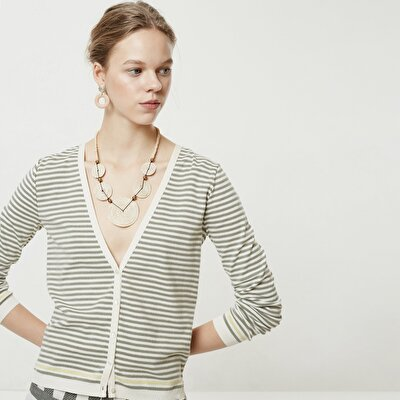 V Neck Striped Knitwear
