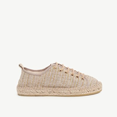 Laced Espadrille With Glitter Blended Fabric