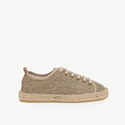Laced Espadrille With Leave Printed Fabric