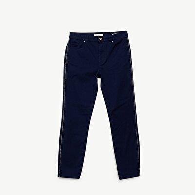 Şerit Detaylı Denim Pantolon