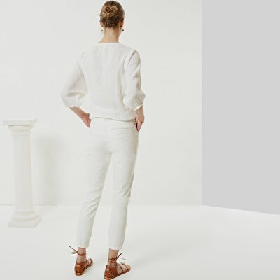 Side Seam Detailed Denim Trousers