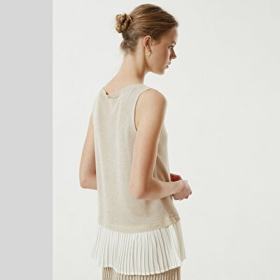 Pleat Detailed Sleeveless Knitwear