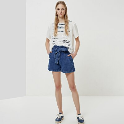 Belt Detailed Denim Short