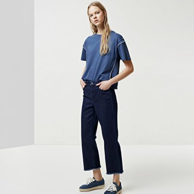 Raw Edge Detailed Cropped Denim Trousers