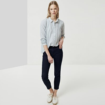 Piping Detailed Denim Trousers