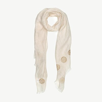 Linen Scarf With Emroidery