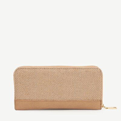 Three Part ZiP- Around Jute Detailed Wallet