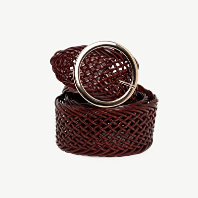 Wide Weave Leather Belt Wtih Round Buckle