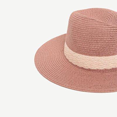 Kontrast Renk Detaylı Hasır  Şapka