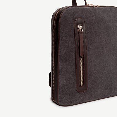 Suede Backpack With Zipper Detail