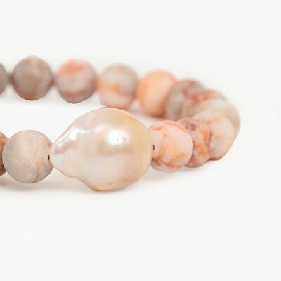 Bracelet With Jasper Stone And Real Pearl