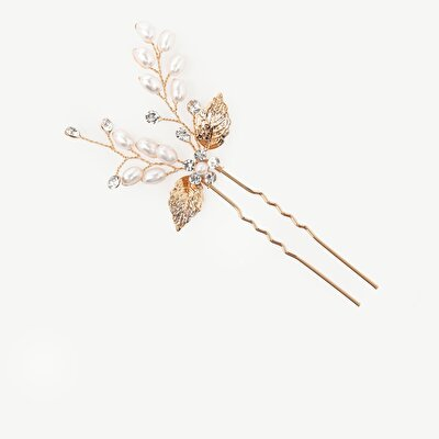 Leaf Formed Hair Tie With Pearls And Hellenistic inspiration