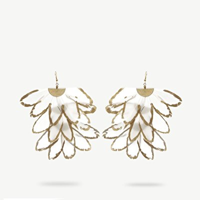 Feather Earrings With Gold Print