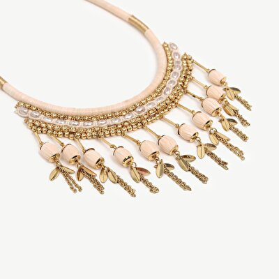 Necklase With Popmpoms And Chain Tassels