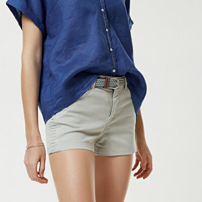 Pintuck Detailed Denim Short