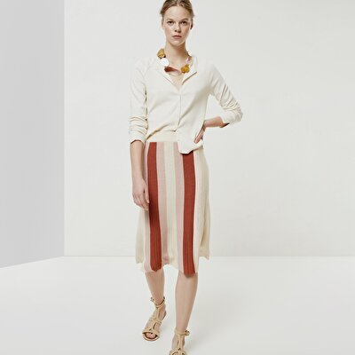 Color Blocked Knitwear Skirt