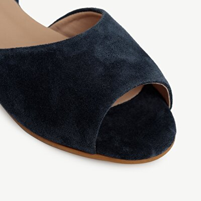 Linen Ankle Tie Suede Leather  Ballerina Shoe