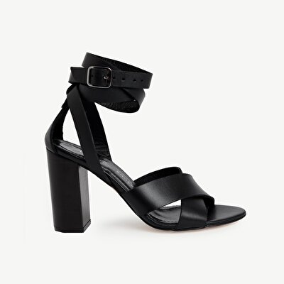 Ankle Tie High Heel Leather  Sandals