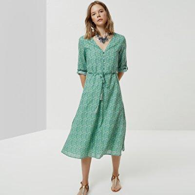 V Yaka Düğme Detaylı Elbise