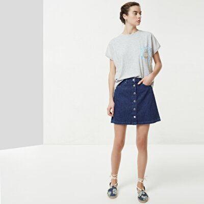 Pintuck Detailed Denim Skirt