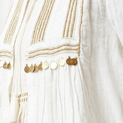 Beading Detailed Long Sleeved Shirt