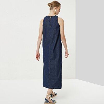 Yırtmaç Detaylı Denim Elbise